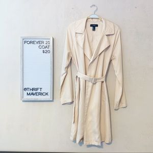 Cream Light Weight Trench Coat | Forever 21